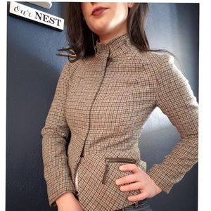 Talbots Plaid Jacket with Leather Accents